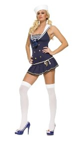 Leg Avenue Women's 2 Piece Shipmate Cutie Includes Hat With Anchor Patch And Dress, Navy/White, Medium/Large