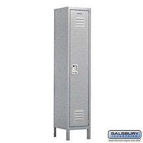 Salsbury Industries Assembled 1-Tier Extra Wide Standard Metal Locker with One Wide Storage Unit, 6-Feet High by 18-Inch Deep, Gray by Salsbury Industries