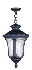 Livex Lighting 7858-04 Oxford - Three Light Outdoor Hanging Lantern, Black Finish with Clear Water Glass
