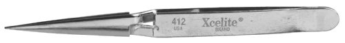 Xcelite XHT412 Cross Lock/Smooth Sharp Point General Duty Self Closing Tweezer, 4-1/2