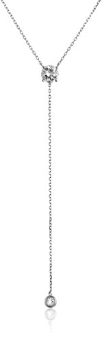 925 Sterling Silver AAA Cubic Zirconia Lariat Y-Shaped Necklace, 18″ ( 2.29 Cttw)