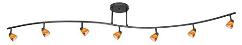 Serpentine 7 Light Track Light with Swirl Glass Shade Color: Amber Swirl