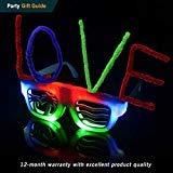 POPCHOSE Flashing Glow LED Light Up Party Glasses Multi Colored Halloween Costume Christmas Xmas Dance Party -