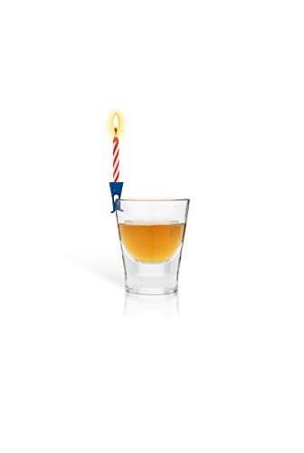 Wish Clips Birthday Candles for Drinks 15 Colored Candles and Clips Beer Wine Accessories Surprise Gifts for Women Men Fun Bachelorette Party Cups Drink Marker Unique Happy Birthday Cake Candles