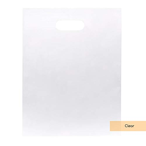 ClearBags LDPE Clear Handle Bag | Merchandise Bags With Die Cut Handles | Strong and Tear Resistant | For Trade Shows, Retail, and Shopping | NFL Stadium Approved (100 Bags, ()