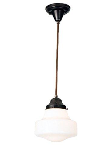 (Meyda Tiffany Custom Lighting 50649 Schoolhouse Collection 1-Light Mini-Pendant, Craftsman Brown Finish with Traditional White Opal Glass Globe)