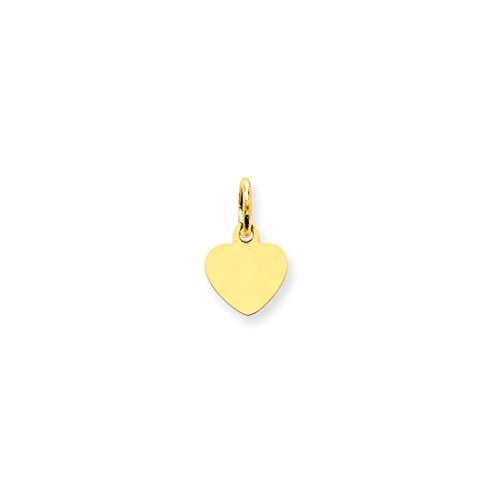 ICE CARATS 14kt Yellow Gold Plain .009 Gauge Engravable Heart Disc Pendant Charm Necklace Simple Shaped Fine Jewelry Ideal Gifts For Women Gift Set From (14kt Gold Heart Charm Pendant)