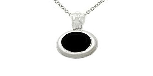 - Sterling Silver 10x8mm Oval Black Onyx Pendant