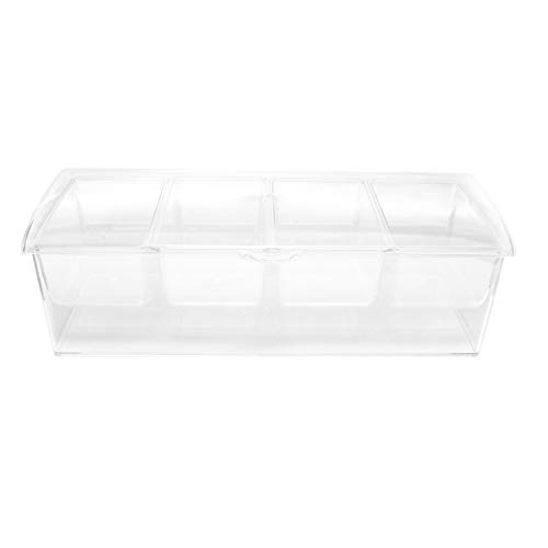 7Penn | Condiment Tray with Ice Chamber, 4 Condiment Containers, Lid - Bar Garnish Tray Chilled Condiment Server Caddy ()