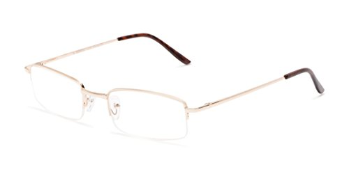 Readers.com The Topeka +6.00 Gold High-Powered Semi-Rimless Powers up to +6.00 Rectangle Reading - Sunglasses Fairwind