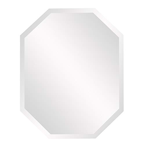 Howard Elliott Frameless Hanging Wall Mirror, Octagonal (22 x 28 Inch), Silver -