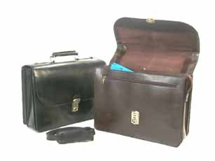 Key Locking Leather Flap-Over Executive Case with Laptop Slot Color: Brown
