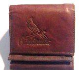 St.louis Cardinals Dark Brown Leather Embossed Trifold ()