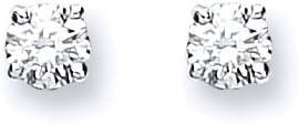 Pendientes de oro blanco auténtico de 9 quilates de 0,20 quilates con broche de diamante de 3 mm