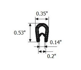 "White edge trim U seal | U height: 21/32"" , Grip range: 3/64"" - 5/32"" for hatches, lockers, metal doors, windows, cars, trucks, caravan and boats."