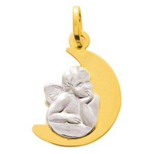 So Chic Bijoux © Pendentif Médaille Bicolore Demi Lune Ange Gardien Raphaël Pensif sur Nuage Or Jaune & Blanc 750/000 (18 carats)
