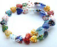 M11 Millefiori Lampwork Beads, 10mm Hearts Multi strand