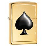 (Zippo Black Spade Pocket Lighter, High Polish Brass)