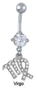 - Clear cz Virgo zodiac sign dangle Belly button navel Ring piercing bar body jewelry 14g