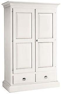 CLASSICO armadio Shabby Chic bianco 2 ante scorrevoli e cassetti ...