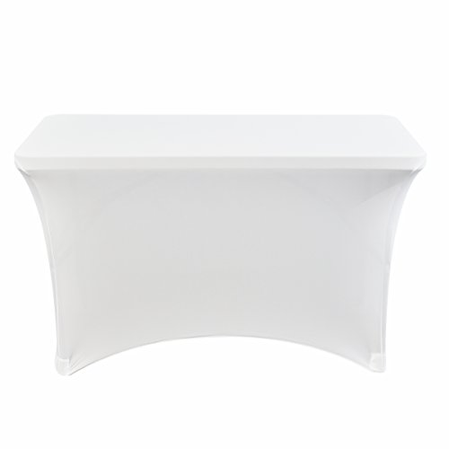 Iceberg 16513 Spandex Fabric Table Cover, 4', White, 29'' Height, 24'' Width, 48'' Length, by Iceberg