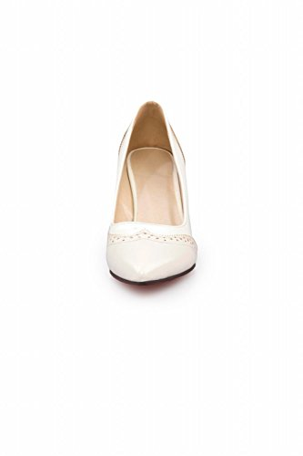 Carol Shoes Women's Sweet Fashion Stiletto High Heel Date Court Shoes White beRcrhry0