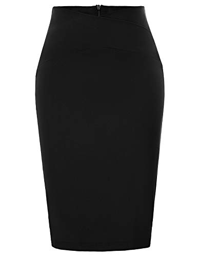 GRACE KARIN Women Business Slim Pencil Skirt Wear to Work Black Size S CL937-1 ()