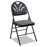 Samsonite BridgePort 36875KNB4 Fabric Padded Seat/Molded Fan Back Folding Chair, Kinnear Black, 4/Carton