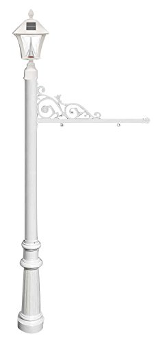 Qualarc REPST-800-WHT-SL Prestige Powder Coated Aluminum Real Estate, Business and Yard Sign, with Bayview Solar Lamp & Fluted Base in White, Ships in 2 (Bayview Solar Light)