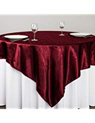 LinenTablecloth Square Baroque Embossed Satin Overlay, 72-Inch, Burgundy
