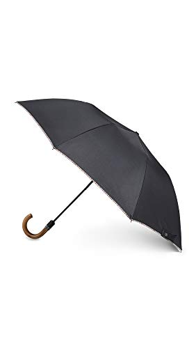 Paul Smith Men's Multistripe Trim Crook Umbrella, Black, One Size