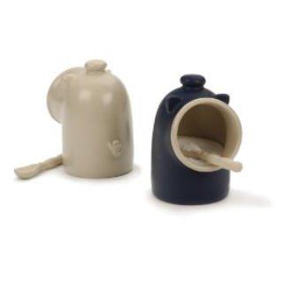 Oatmeal stoneware Salt Pig and Spoon Salt Keeper