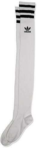 adidas Originals Women's Originals Over The Knee Thigh High Socks (1-Pack), White/Black, Medium (Shoe Size 5-10)