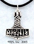 Norse God of Thunder Thor's Hammer in Solid Sterling Silver