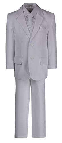 Husky Boys 6 Piece Classic 2 Button Suit with Neck Tie and Pocket Square White ()