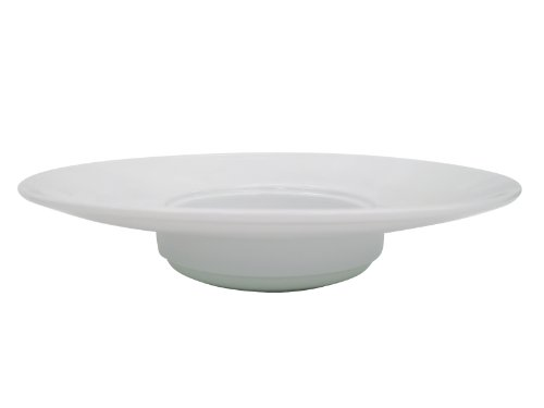 CAC China HMY-122 10-Inch Harmony Porcelain Wide Rim Pasta Bowl, 7-Ounce, White, Box of (Wide Rim Pasta Bowl)