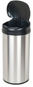 Motion Sensor Stainless Steel Trash Can, Shape: Round, Size 13.0 Gallon/49 Ltr.