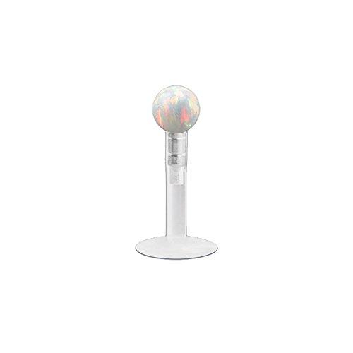 Pierced Owl 16GA Push-in Opal Ball Top Cartilage/Labret/Monroe Stud in Bioflex & 316L Stainless Steel (8mm (5/16
