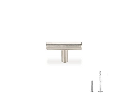 "2"" Euro T Bar Solid Stainless Cabinet Drawer Single Hole Knob with Flexi Screw System (Pack of 10) by ()"
