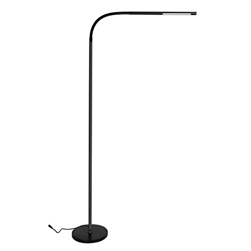 Byingo LED Reading and Crafting Floor Lamp Modern Simplicity Style 4 Color Modes 500 Lumens Stepless Dimming Fully Adjustable Long Arm Touch Sensor Switch, for Sofa/Desk Reading, Living Room, ()