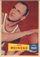 1957 Topps Regular (Basketball) Card# 21 don meineke of the Cincinnati Royals VG Condition by Topps