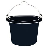 Fortiflex Flat Back Feed Bucket for Dogs/Cats and Small Animals, 8-Quart, Black by Fortiflex