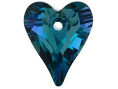 Set of 2 Swarovski 6240 Wild Heart Pendant in Aquamarine Vitrail Light