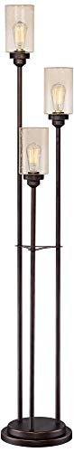 Libby Vintage Floor Lamp 3-Light Oiled Bronze Amber Seedy Glass Dimmable LED Edison Bulb for Living Room Bedroom - Franklin Iron Works by Franklin Iron Works (Image #5)