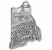 Sterling Silver Rhode Island State Charm with Split Ring