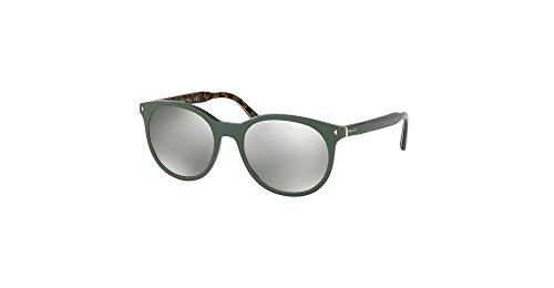 Prada 06TS VAS2B0 Green 06TS Round Sunglasses Lens Category 3 Lens Mirrored - Sunglasses Prada Mirrored