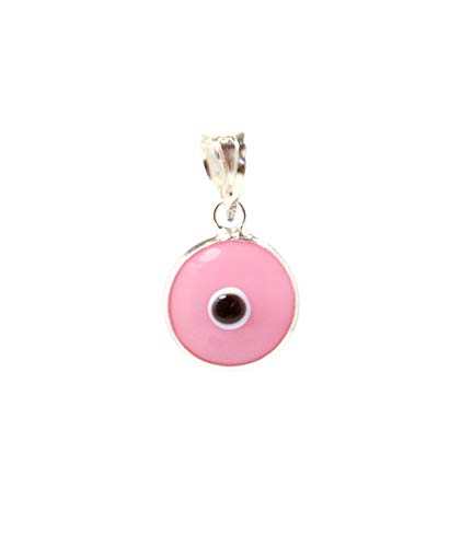 MIZZE Made for Luck Pink Authentic 925 Sterling Silver 10 MM Round Glass Evil Eye Charm Pendant