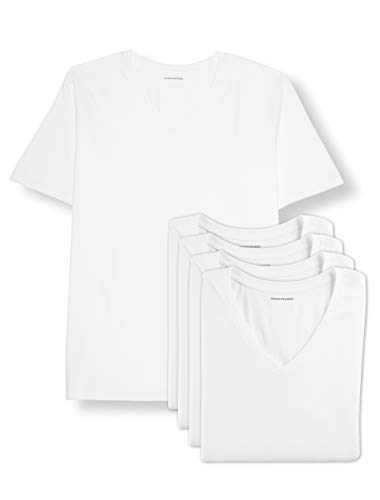 Amazon Essentials Men's Big & Tall 5-Pack V-Neck Undershirts Shirt, -White, 3XL