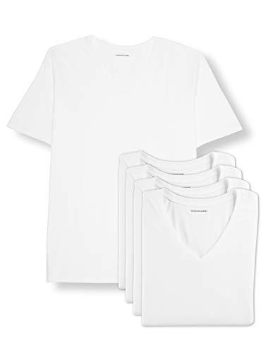 Amazon Essentials Men's Big & Tall 5-Pack V-Neck Undershirts Shirt, -White, - Undershirts Pack 3 V-neck