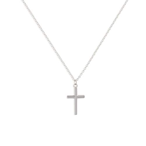 - LOYATA Tiny Cross Pendant Necklace, Silver Plated Minimalist Simple Delicate Chain Necklace for Women (Cross 3 Silver)